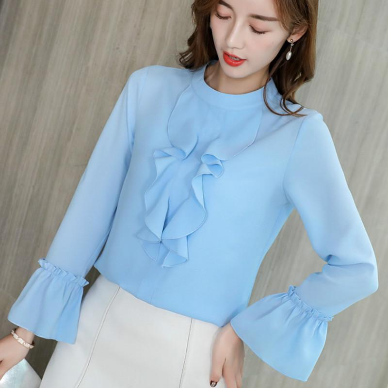 b95ae233e 2019 New Korean Long Sleeve Women's Shirts Casual Bottom Blouses Spring  Summer Blouses Women Tops Slim Chiffon Shirt Blue White