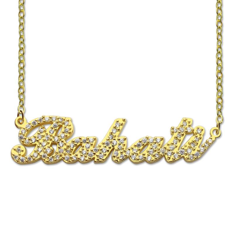 2019 AILIN Sparkling Cut Carrie Style Name Necklace Gold