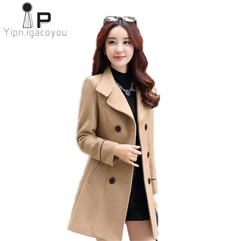8f642b7b81b 2019 Autumn Winter Long Wool Coat Women Outerwear 2018 Korean Plus Size  Blend Woolen Coat Ladies Double Breasted Elegant Women Coats From Primen