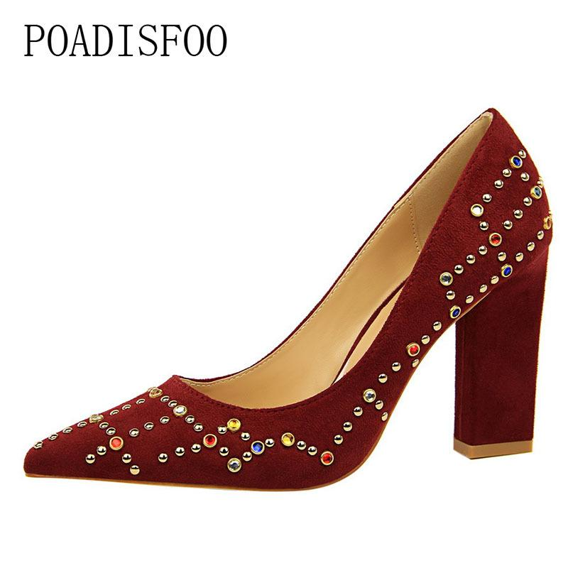 af76981d5c 2019 Dress POADISFOO Wind High Heels Thick With High Heeled Suede Shallow  Mouth Pointed Sexy Thin Color Diamond Shoes .DS 5239 11 Black Shoes Nude  Shoes ...