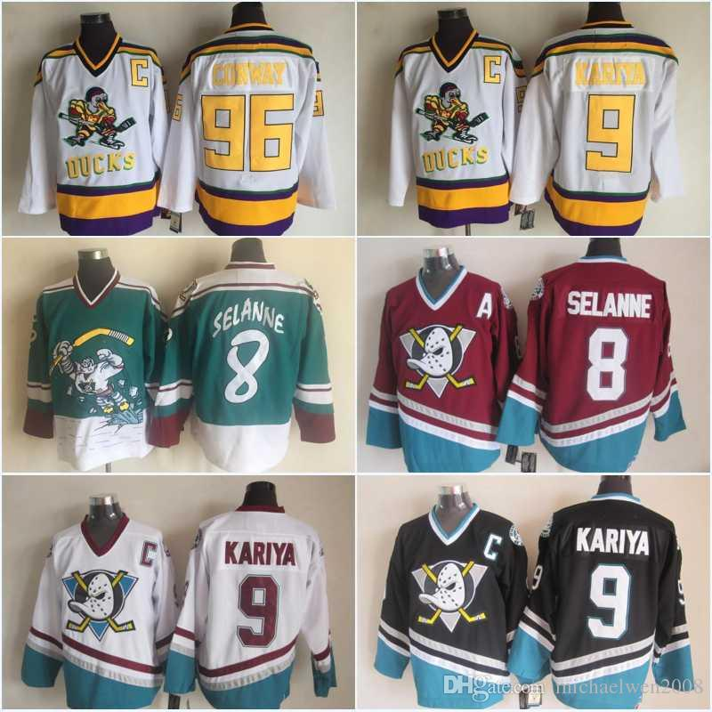 f601afcc3 Men Anaheim Ducks 8 Teemu Selanne 9 Paul Kariya 96 Charlie Conway Mighty  Ducks Of Anaheim Wild Wing 1995 1996 Vintage Hockey Jerseys UK 2019 From ...