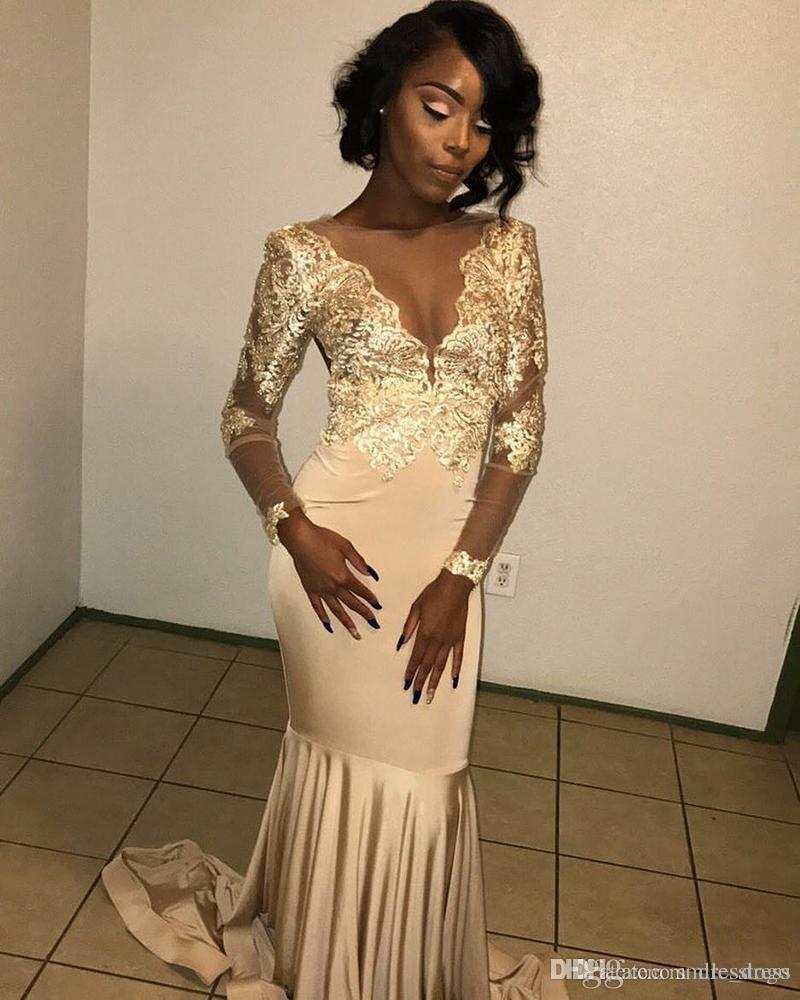 African Lace Appliqued South African Gold Prom Dress Mermaid Long Sleeve  Banquet Evening Party Gown Custom Made Plus Size SP010