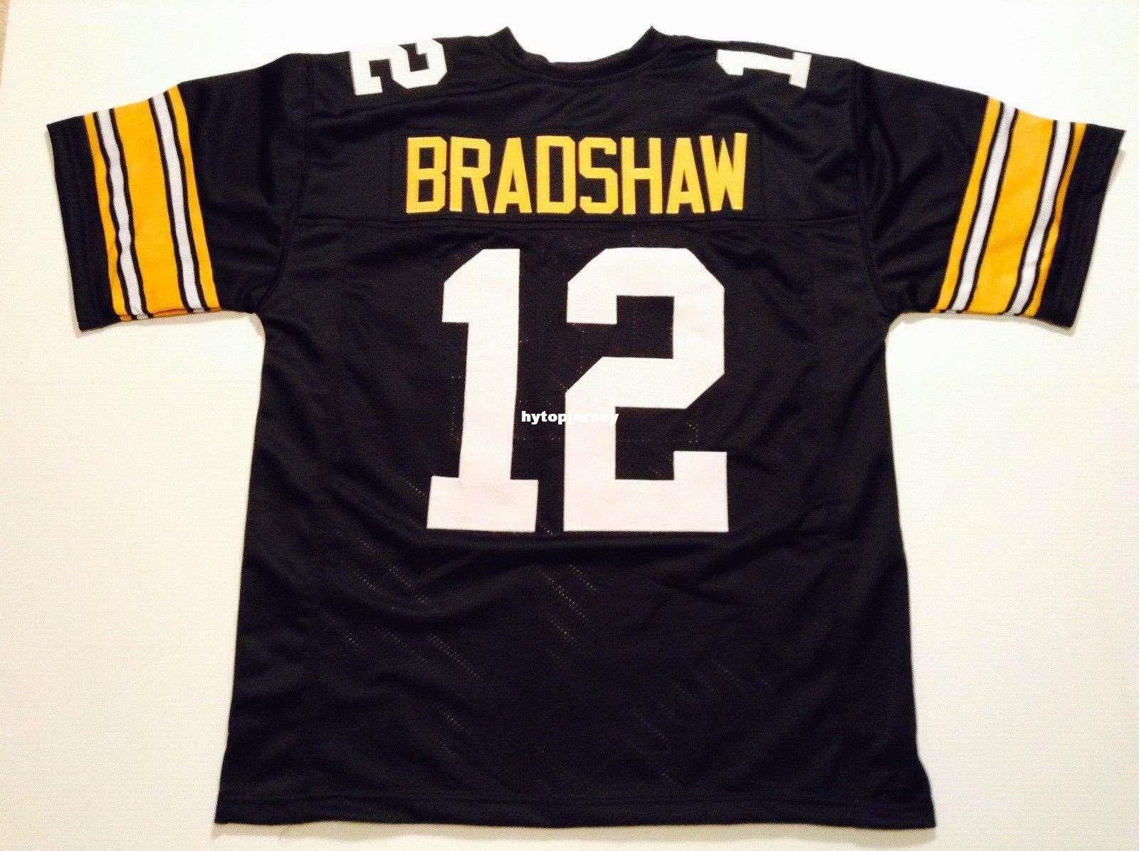 09a5bf653dd Cheap Retro custom Sewn Stitched #12 Terry Bradshaw Black MITCHELL & NESS  Jersey Men's Football Jerseys College NCAA