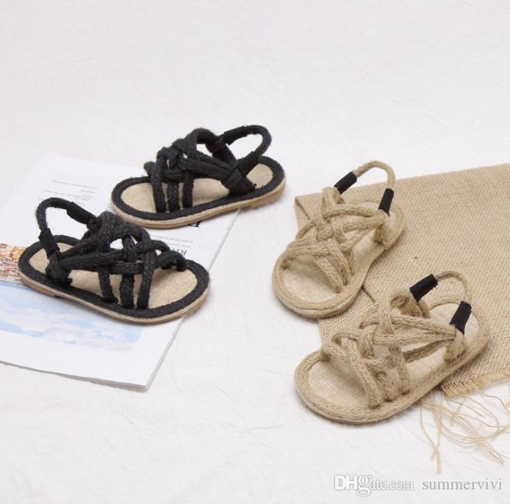 e7b2e9827 2019 Summer New Girls Sandals Kids Hollow Linen Rope Weaving Sandals  Children Non Slip Falt Shoes Girls Breathable Princess Shoes F4512 Shoes  For Little ...