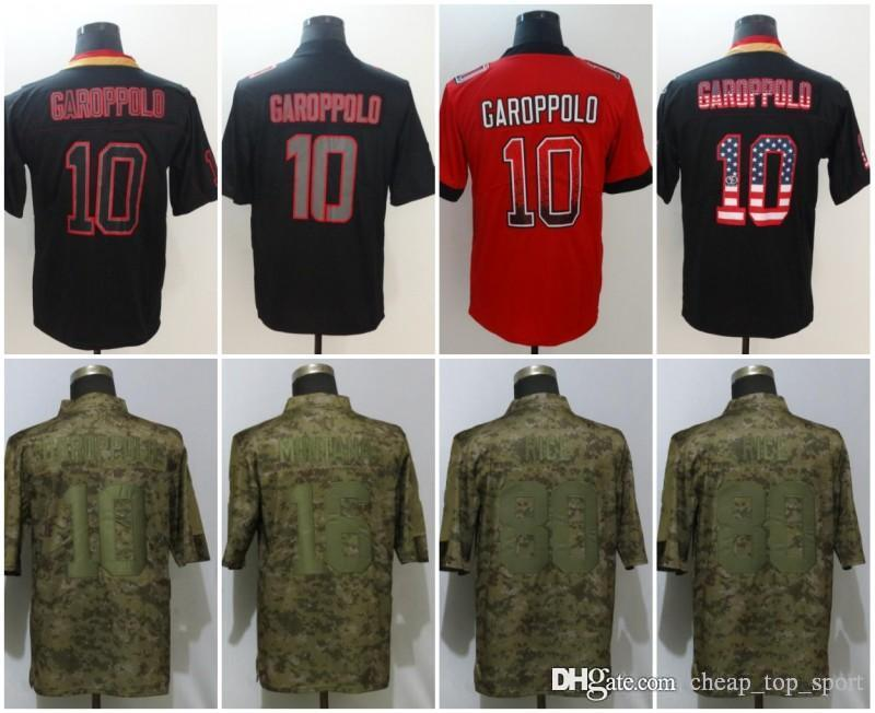 the best attitude bd384 fbd5b Jimmy 10 Garoppolo San Francisco Jerseys Jerry 80 Rice 49ers 2018 USA Flag  Lights out Black Rush Drift Camo Salute to Service Limited