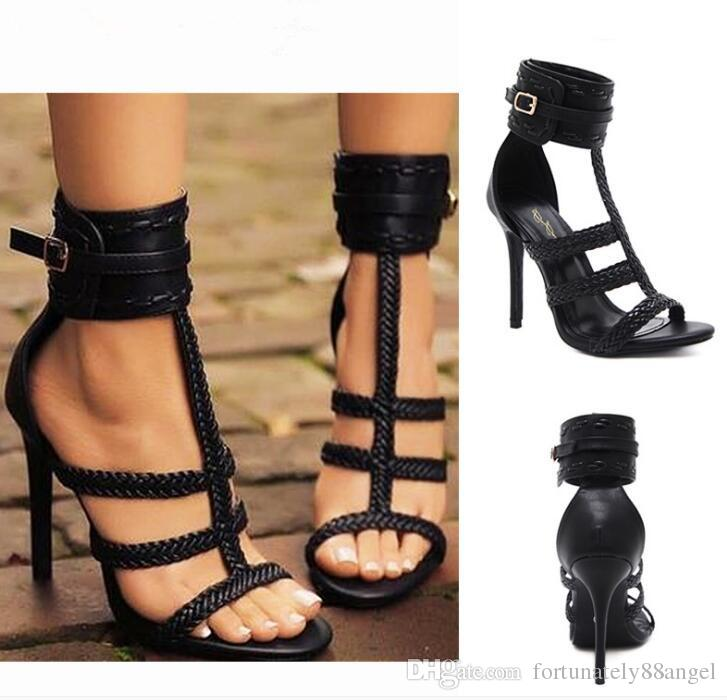 27f4b347acf1 Retro Gladiator Rome Sandal Women Black PU Leather T-strap Braided ...