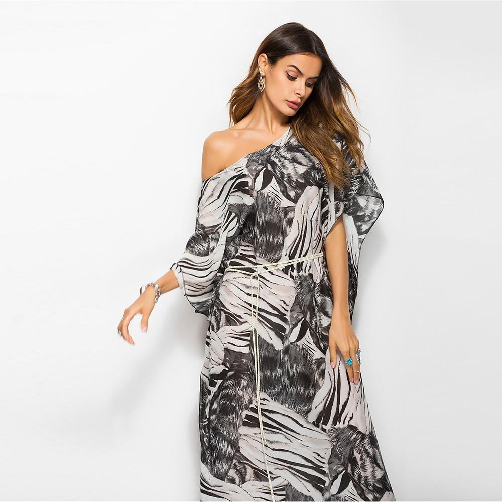 4d5c626f29 Compre Vestido De Gasa Con Estampado De Leopardo Negro Vestido De Gasa Con  Estampado De Leopardo Vestido Suelto Con Hombros Descubiertos Vestido De  Mujer A ...