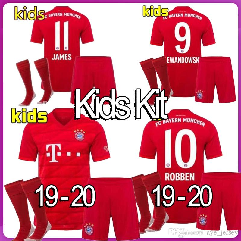 the latest 47a90 60714 New 2019 2020 Bayern Munich Kids Soccer Jerseys 19 20 Youth Boy Home Kits  JAMES LEWANDOWSKI MULLER KIMMICH HUMMELS Football shirts Kit Socks