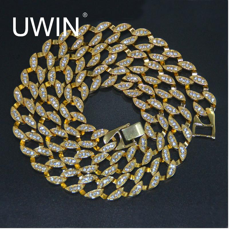 Wholesale UWIN Rapper Hip Hop Men S Necklace Bling Iced Out 30 CZ Rhinestone  15mm Miami Cuban Link Chain Necklace Fashion Jewelry Small Pendant Necklace  ... b2949b209724