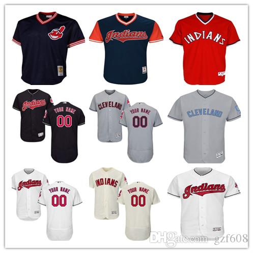 bb90266cf custom Men s women youth Cleveland Indians Jersey  00 Any Your name and your  number Home Black Red Grey White Baseball Jerseys