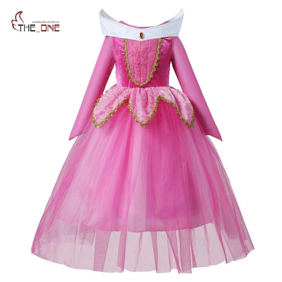 Muababy Girls Sleeping Beauty Dress Up Clothes Children Long Sleeve Aurora Princess Costume Girl Christmas Cosplay Party Dress J190612