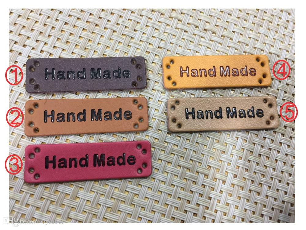 50pcs hand made PU leather Labels stockings on sale 50mm*15mm simulation leather label /handmade label /pu labels