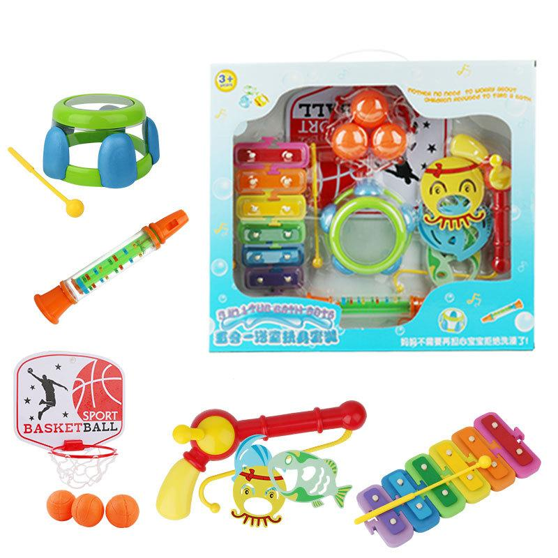 5-PCS suit Baby bath toy Water spraying tool Playing water Joyful bathing Fishing Piano Drum Basketball bathroom / beach toys