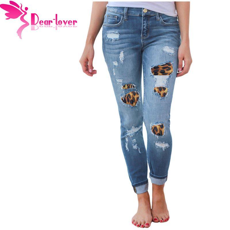 664744da809 Compre Estimado Amante Mujeres De La Moda Pantalones De Mezclilla Más Tamaño  Ripped Leopard Patchwork Lápiz Skinny Jeans Negro Casual Para Mujer  LC786087 A ...