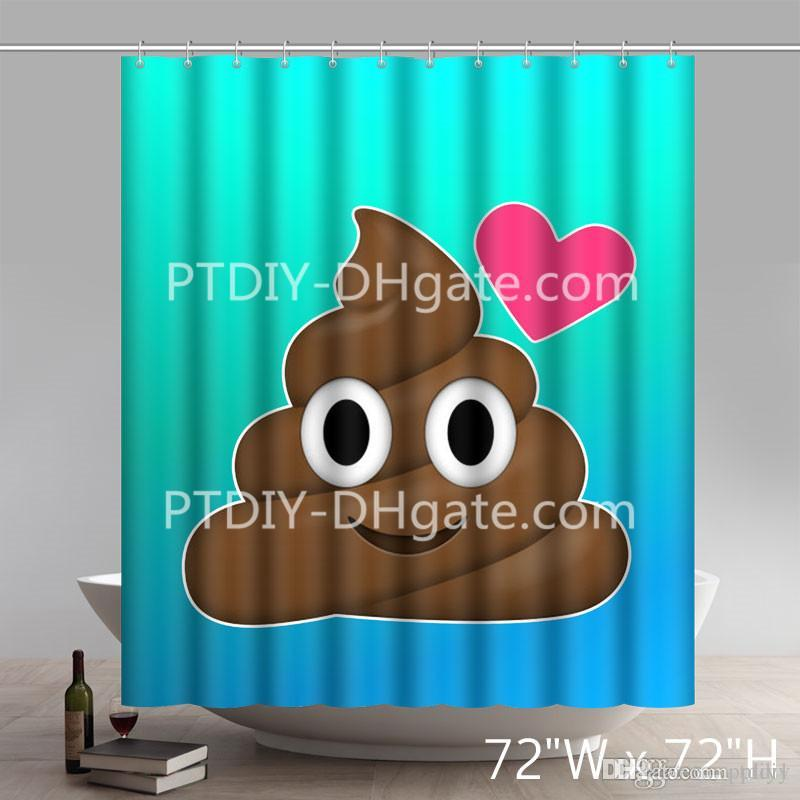 2019 Custom Funny Fall Amazon Poop Emoji Print Waterproof Bathroom Shower Curtains From Ptdiy1 2136