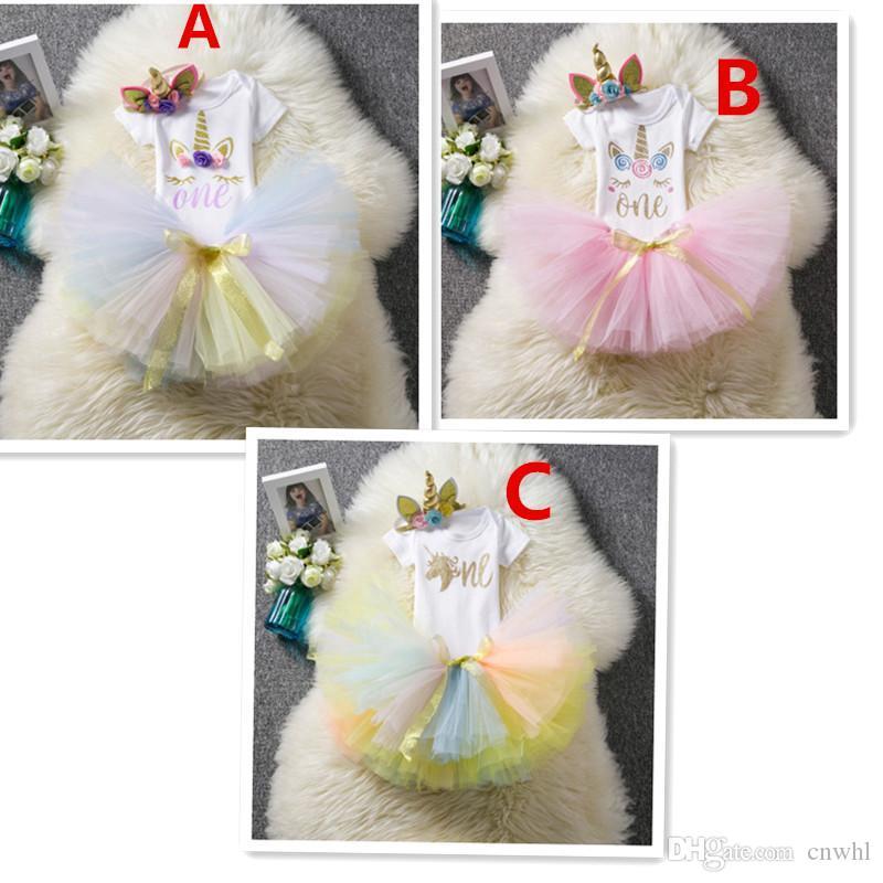 f54d9564471bd 1 Year Girl Baby Birthday Dress Romper Tutu Dress Headband Newborn Clothes  12Months Christening Gown Toddler Unicorn Dress