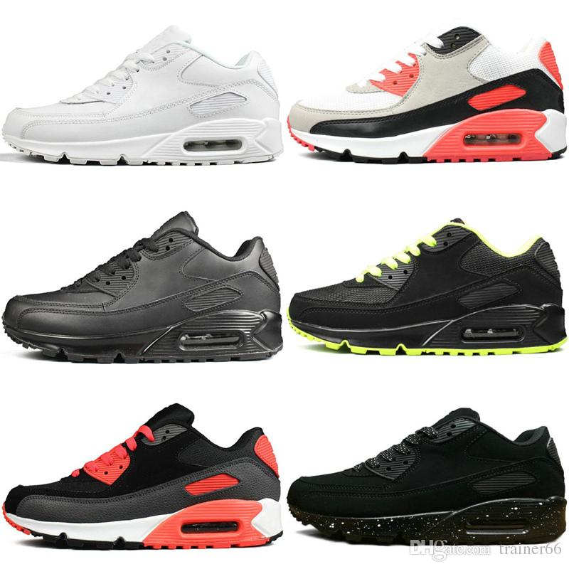 100% authentic c8876 a4e0c 2019 90 Cushion Running Shoes Triple Black White BLACK CROC INFRARED Men  Women High Quality Trainer Sports Athletic Designer Sneakers Size 36 45  From ...