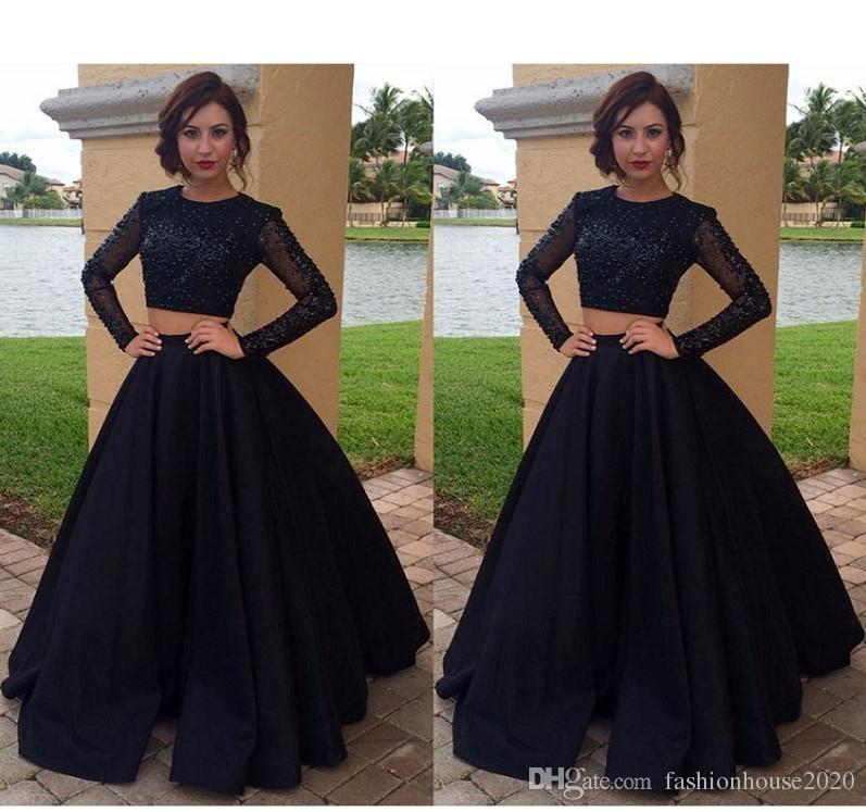2019 New Black Long Sleeves Two Piece Prom Dresses A Line Jewel Neck