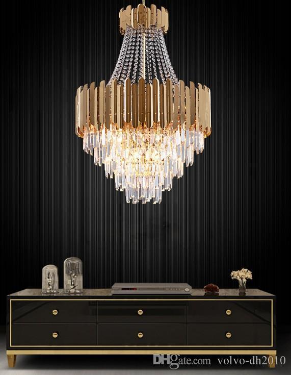 Post modern lustre de luxo titanium aço de ouro led pingente luzes  luminaria k9 led de cristal lâmpada de suspensão iluminação fxiture  lamparas