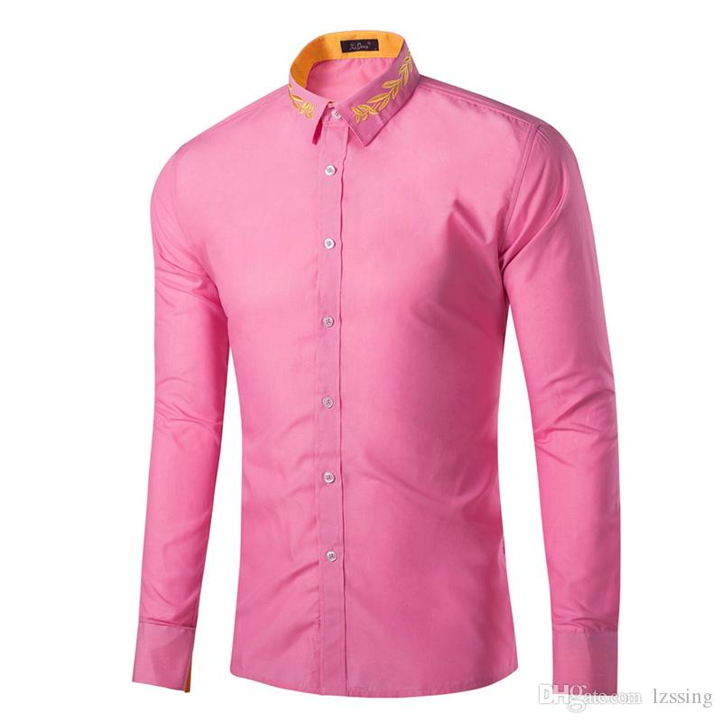 Pink Dress Shirt Men Slim Fit Long Sleeve Casual Button Down Shirts Mens Business Office Work Clothes GD16