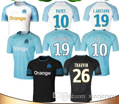pretty nice c9b43 a2d73 18/19 Marseille 10 PAYET Soccer Jersey 2018 Home 19 L.GUSTAVO 26 THAUVIN  Soccer Shirts Away OCAMPOS BATSHUAYI 3rd football Uniform sales