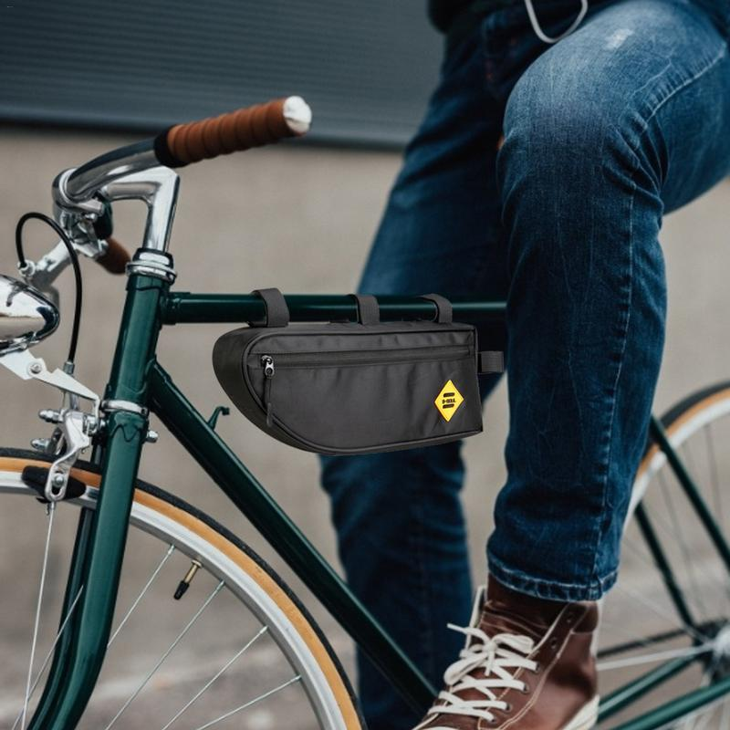 Top Cycling Bag for Bicycle Black Pannier Front Tube Bike Waterproof Frame Pouch