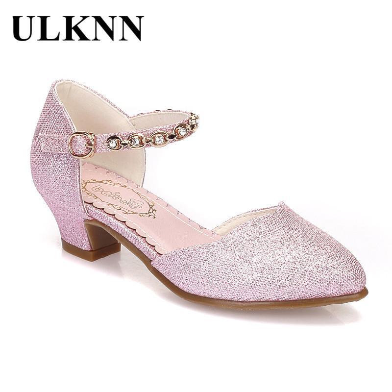 a79a312c Compre Ulknn Princesa Niñas Sandalias Zapatos Para Niños Zapatos De Vestir Poco  Tacón Alto Brillo Fiesta De Verano Sandalia Boda Zapato De Los Niños ...