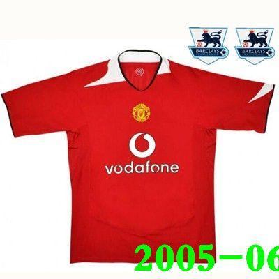 pretty nice 366f1 e83b6 2005-06 Man Utd Retro Soccer Jersey 2007-08 Veron Beckham v.Nistelrooy  Giggs Scholes Solskjaer Veron Kean football shirt SensCilia Patch