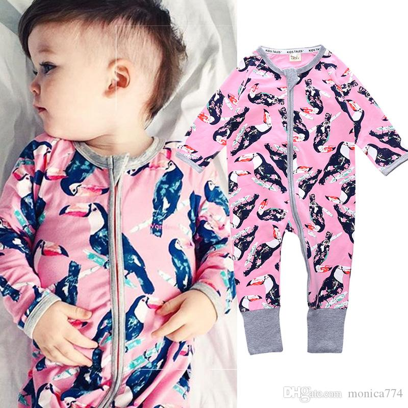 INS Baby Girls Cotton Flora Rompers Cartoon Boys Penguin Bear Climbing Clothing Long Sleeve Europe and America Toddlers Jumpsuits Zipper IC3