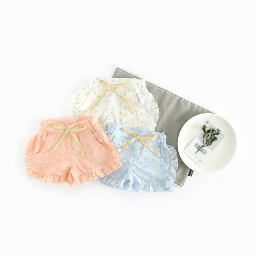 Girls summer casual shorts kids bow colorful dot printed shorts baby white pink blue all match trousers