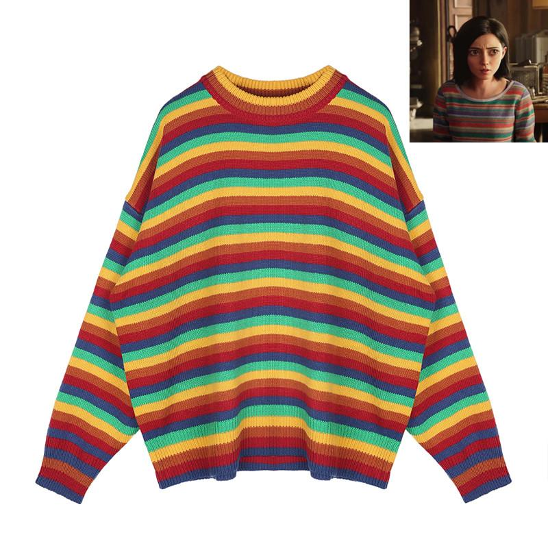 4c0d240ade332 Gunnm Alita Battle Angel Cosplay Rainbow Sweater O Neck Knitted Colorful  Pullover Sweater