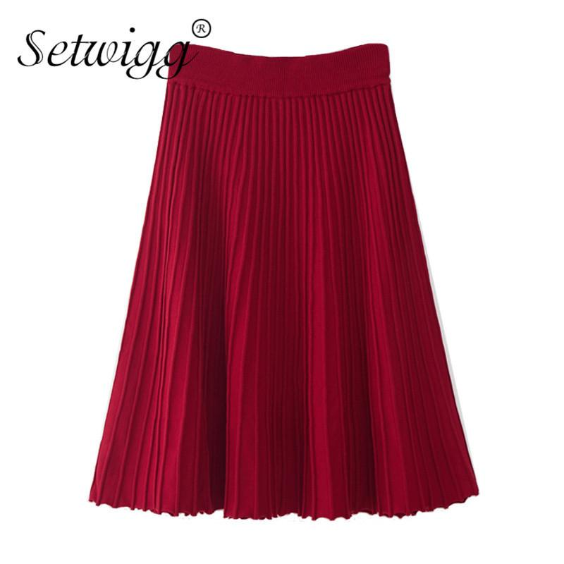 5d86aa2cf7bd wigg Autumn Candy Rib Knitted Cotton A Line Midi Skater Skirts Elastic Waist  Sweet Flared Knee Length Knit Spring Skirts Sg20 Y190428 From Tao01, ...