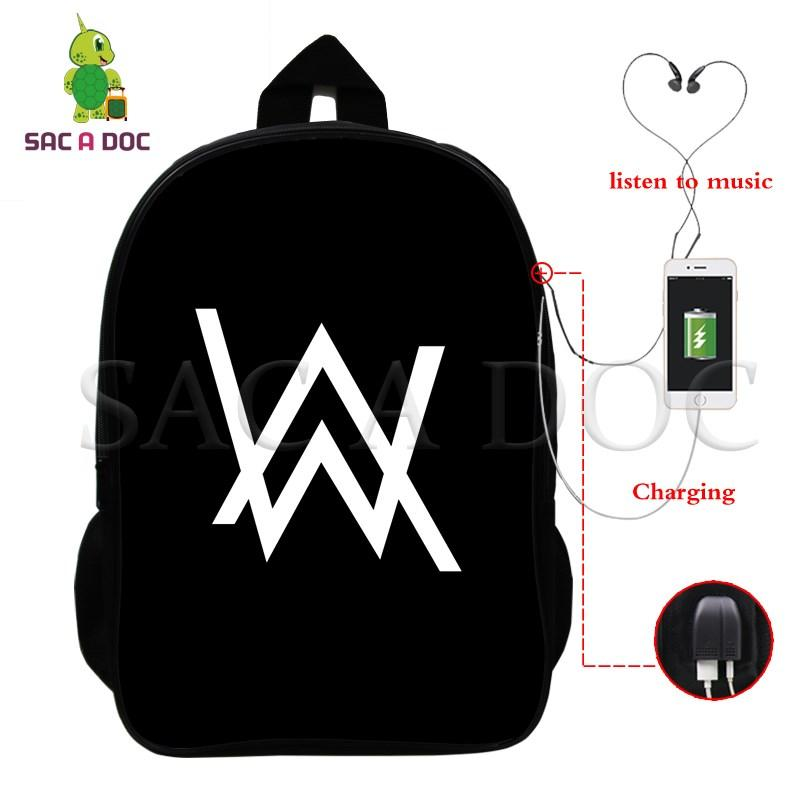 8286c0a9fa9 Alan Walker Marshmello DJ Multifunction Backpack USB Charging Laptop  Backpack for Teenagers School Travel Bags Daily