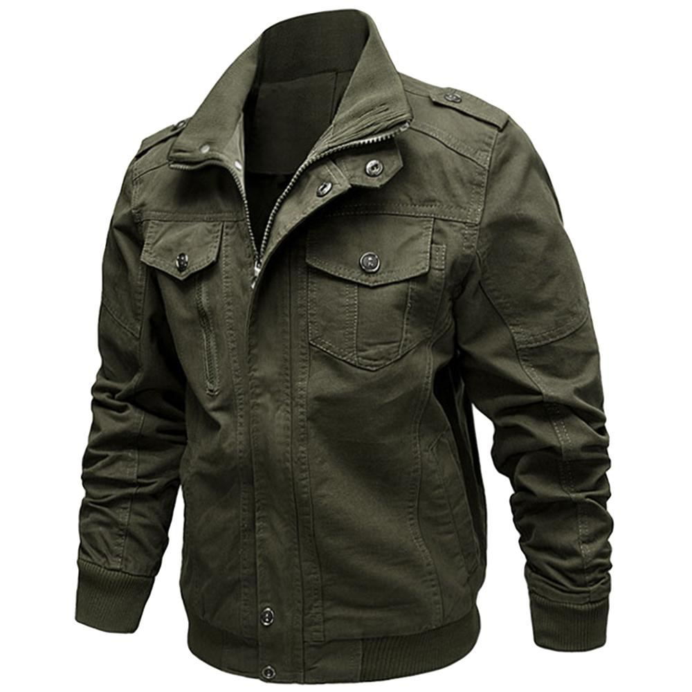 b2826ac0e Zip Up Stand Collar Cargo Jacket Long Sleeves Cotton Casual Jackets