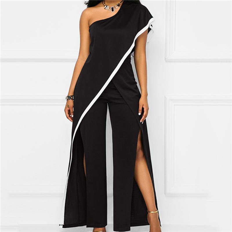b9a9a620dcd0 One Shoulder Black Wide Leg Jumpsuit Women Summer Loose High Split Long  Pants Romper Ladies Elegant Evening Jumpsuits Outfits Pink Cocktail Dresses  Dress ...