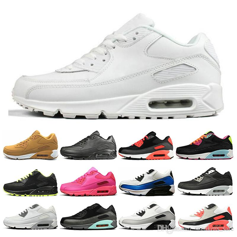timeless design 55f5d 056eb Großhandel Nike Air Max 90 New Yellow Triple White 90 Herren Damen  Laufschuhe Schwarz Grau Rosa Herren Trainer Kissen Oberfläche Atmungsaktive  Sport ...