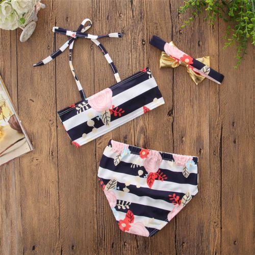 الصيف أطفال بنات الطفل BOWKNOT مخطط الزهور طباعة زهرة بيكيني ملابس السباحة ثوب السباحة ملابس السباحة