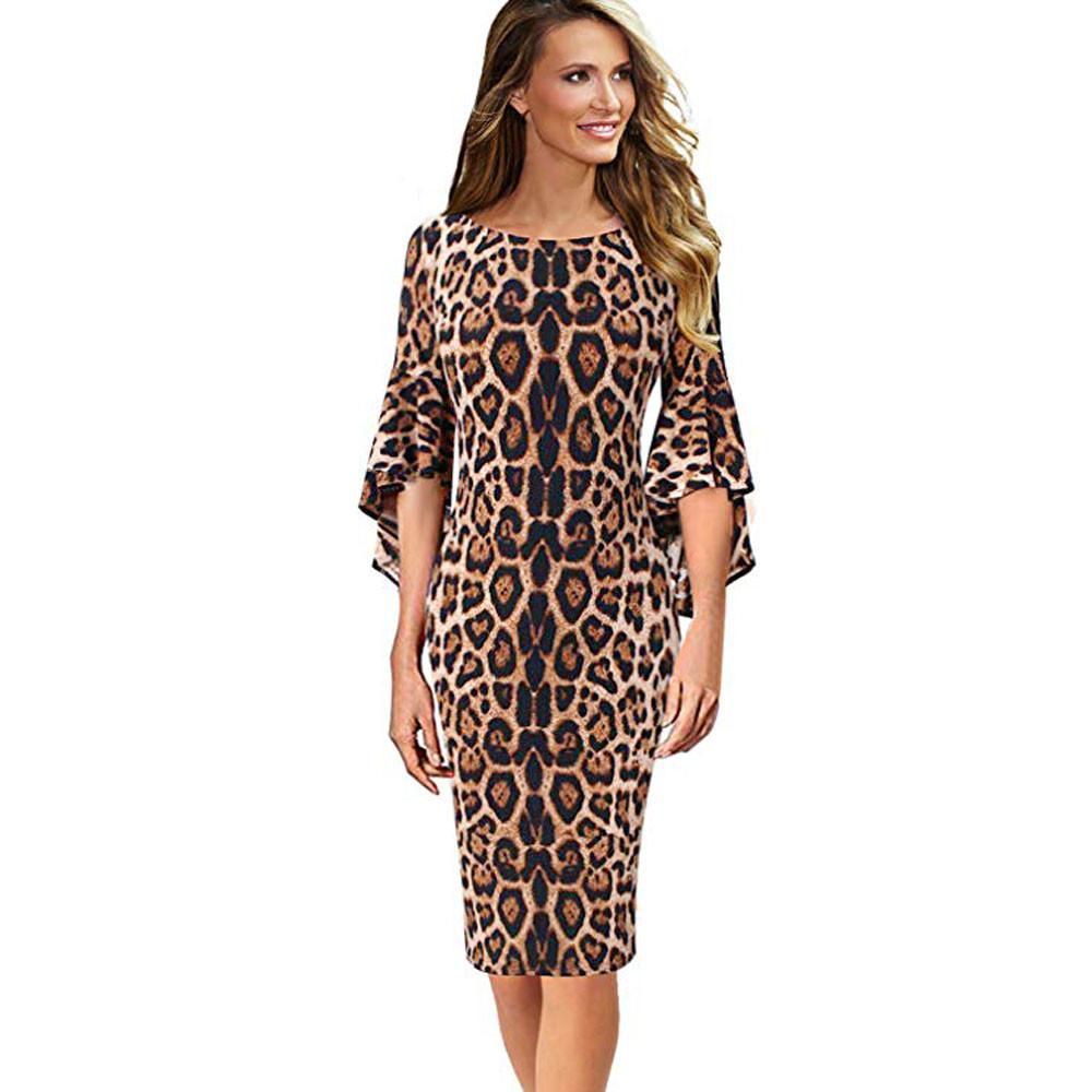 b0b68c01a1 Compre Para Mujer Vestido De Invierno Estampado De Leopardo Elegante Fiesta  De Trabajo Vestido De Manga De Campana Vestido De Cóctel Vestidos De Fiesta  ...