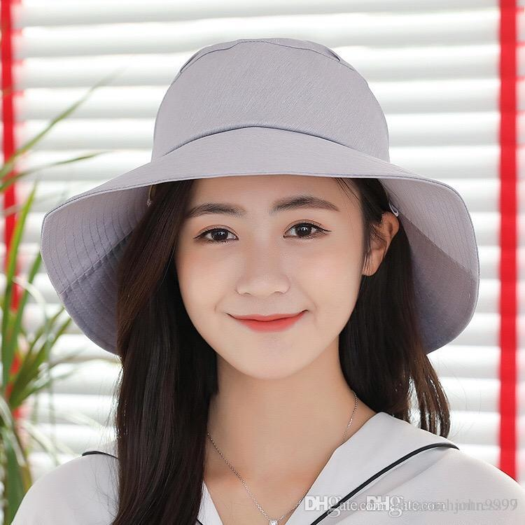 d96f63ead54 New Spring And Summer Sunshade Hat Ladies Bow Solid Color Cotton Cloth Hat  Outdoor Big Beach Hat Fashion Hat Sunshade Hat Temperament Hat Online with  ...