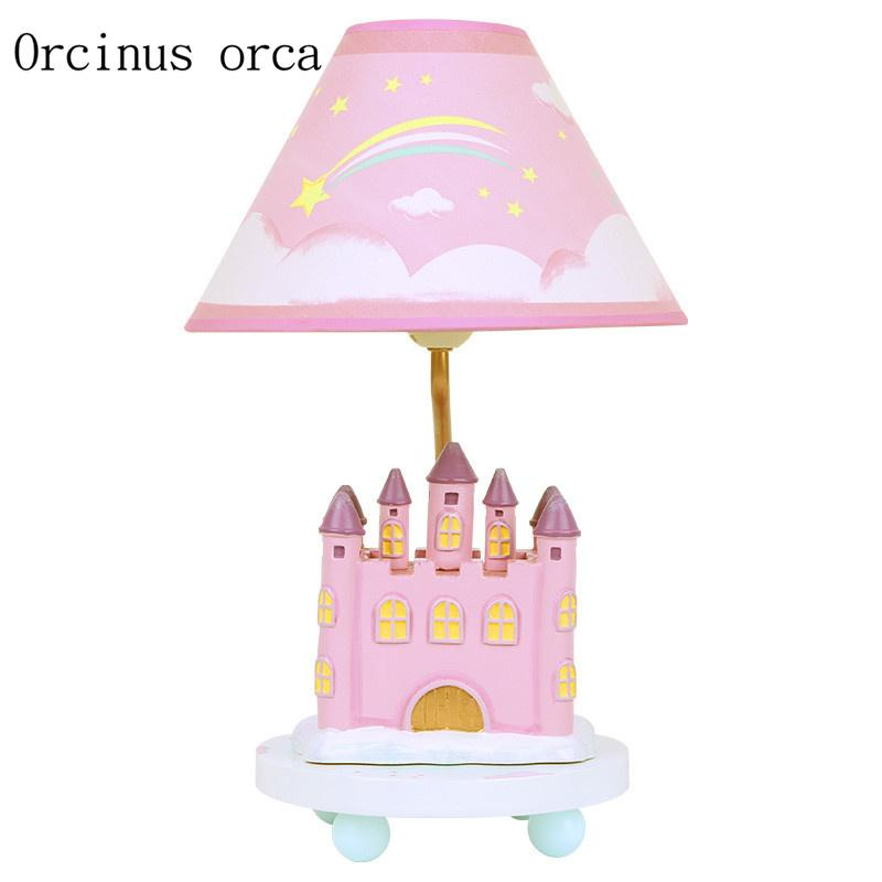 Cartoon creative castle desk lamp girls bedroom Princess bedroom children s  room modern simple lovely table lamp free shipping