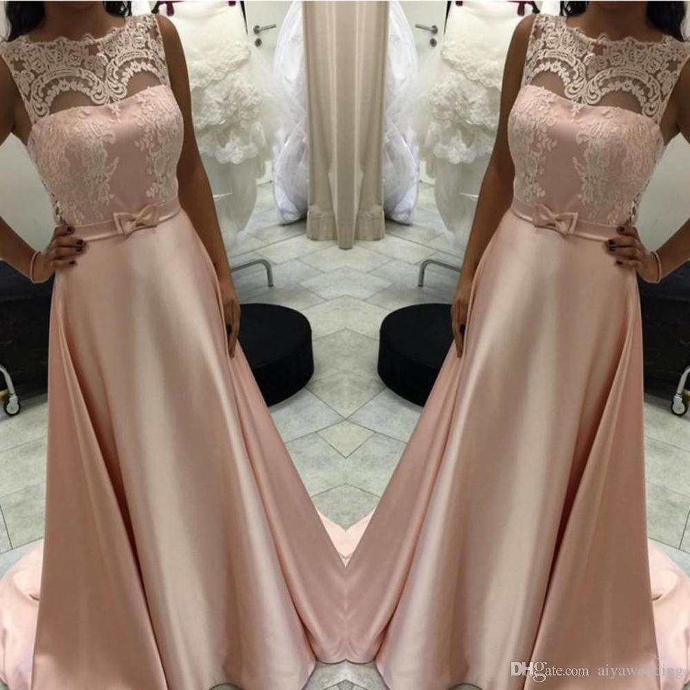 1f5f2d7ca09 Glamorous Sheer Evening Dresses A Line Peach Appliques With Bow Sash ...