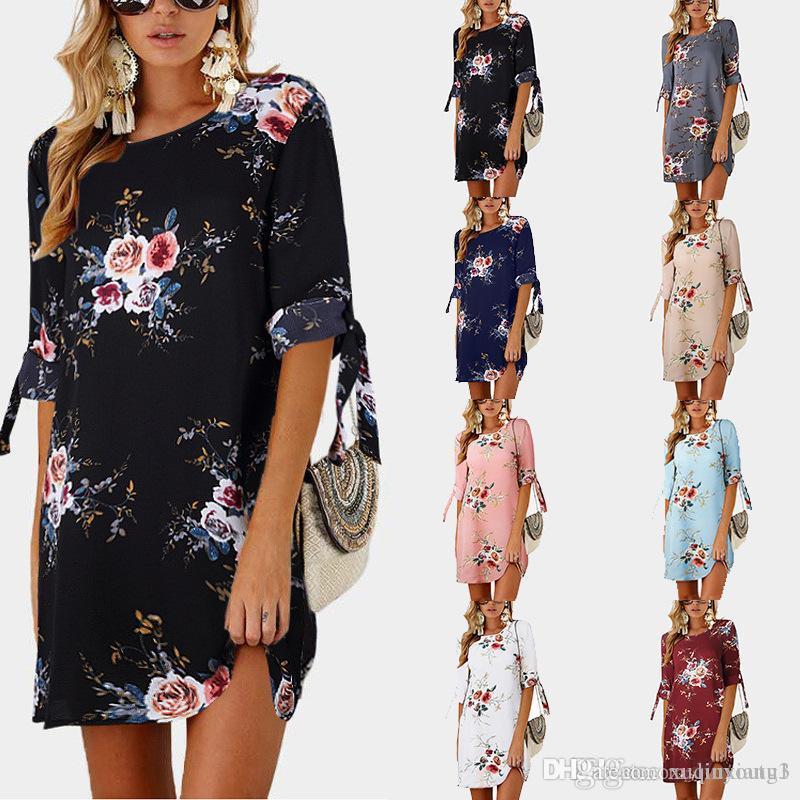 2019 Women Summer Us Dress Boho Long Floral Beach Mini Sundress Party Cocktail