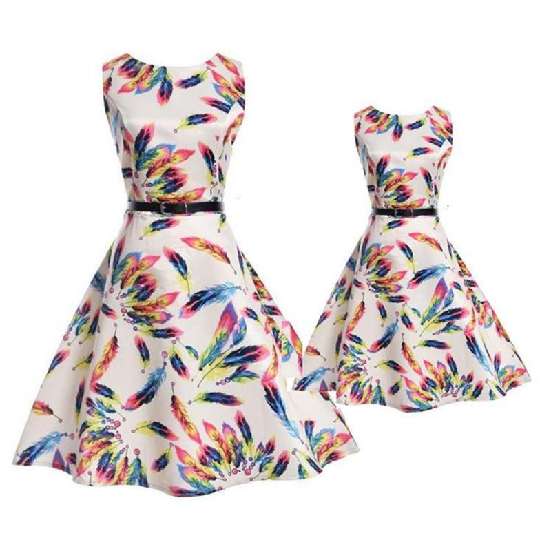 b60d55d3be Mother Daughter Dress Fashion Summer Party Sleeveless Family Look ...