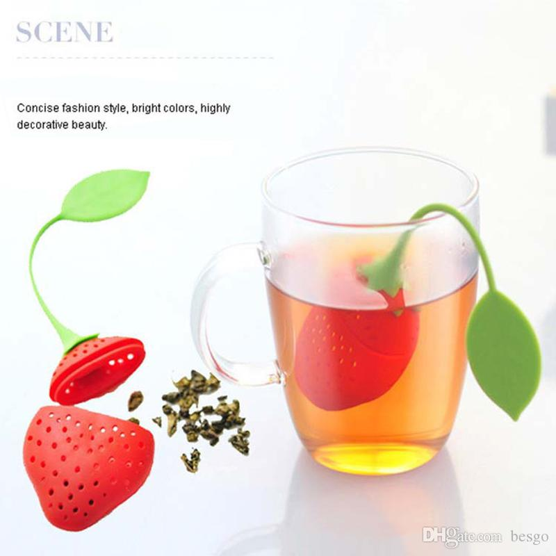 Strawberry Silicone Tea Infuser Strainer Red Yellow Teabag Kettle Loose Tea Leaf Strainer Ball Herbal Spice Tea Infuser Filter DBC VT0327