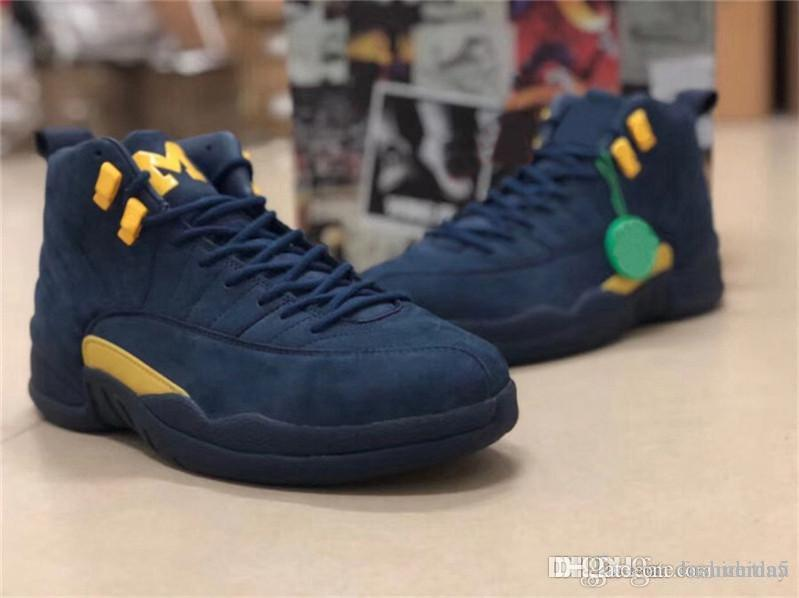 58796f7d214bec 2019 2018 12 RTR MICHIGAN NRG MICHIGAN X PSNY Navy Blue 12S Men Basketball  Shoes Authentic Real Carbon Fiber Sneakers With Box BQ3180 407 From  Fashiontina