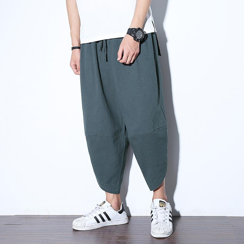 f9f079de79 2019 #4512 2019 Linen Pants Men Summer Thin Retro Linen Wide Leg ...