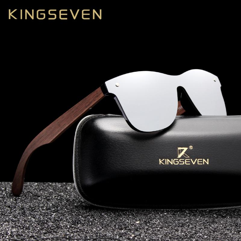 ea11525d22 Kingseven 2019 Luxury Walnut Wood Sunglasses Polarized Wooden Brand Designer  Rimless Mirrored Square Sun Glasses For Women Men C19022501 Prescription ...