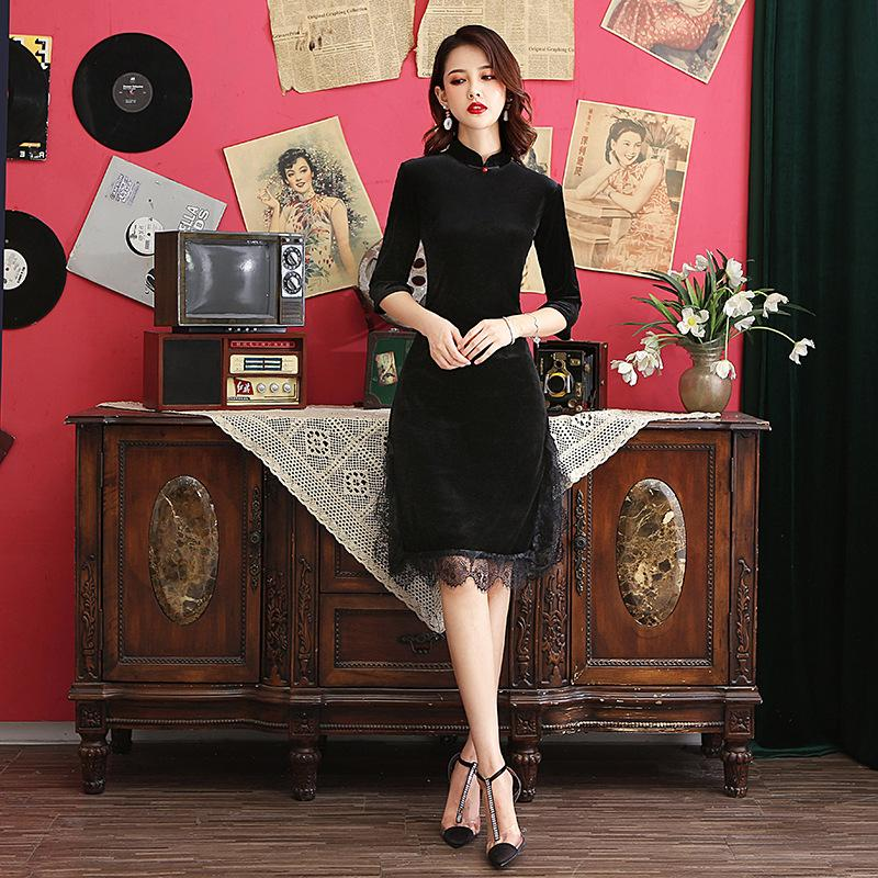 Cheongsam Black Velvet Qi Pao moulantes Robes Pour Femme 2019 Chinese Sexy Robes Femme Night Party longueur au genou FF2303