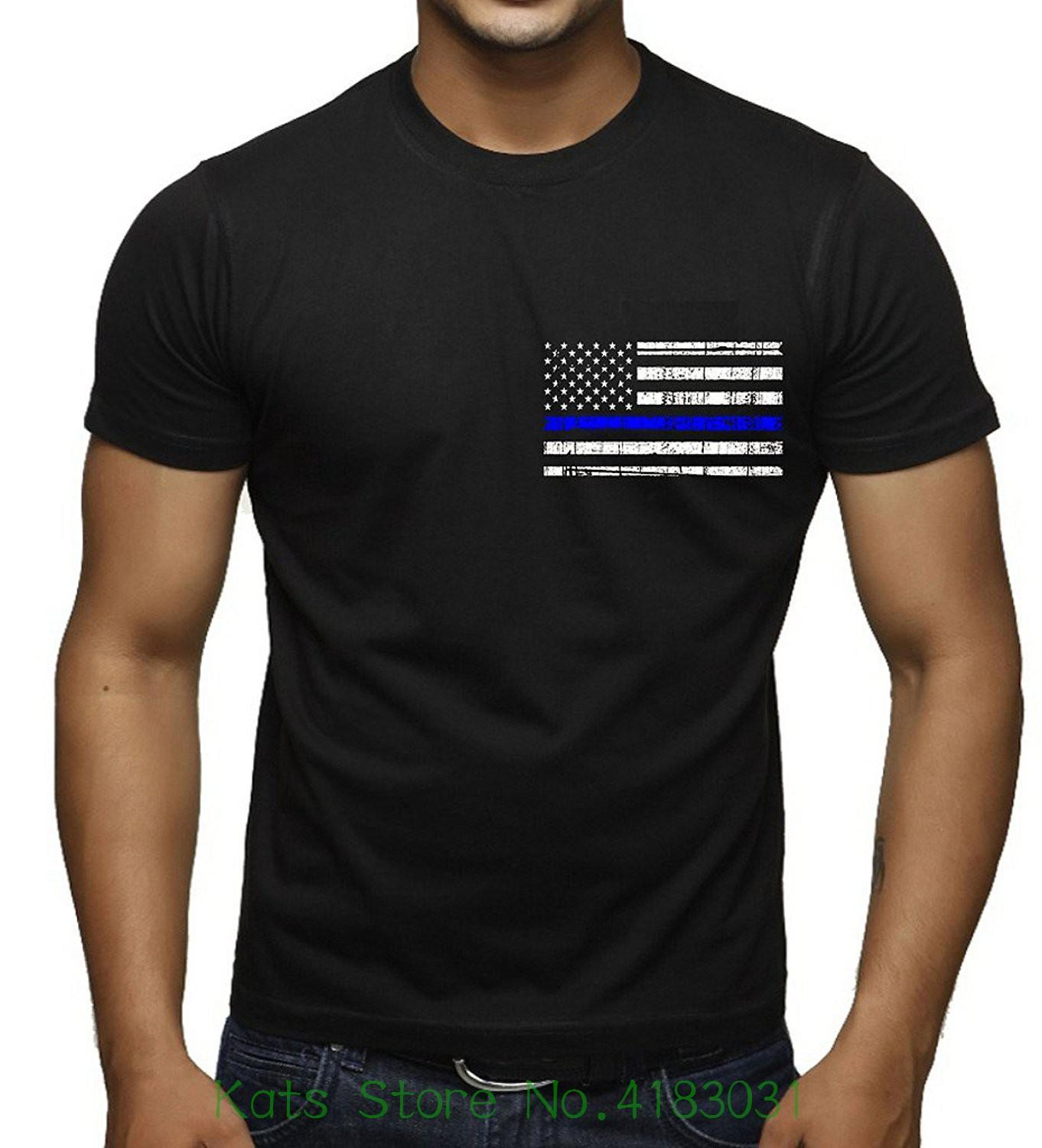 Men S Thin Blue Line Police Flag Black T Shirt Black Fashion Men And Woman  T Shirt Cool Funny Shirts One Day Shirts From Jie034 9f21b2a192d