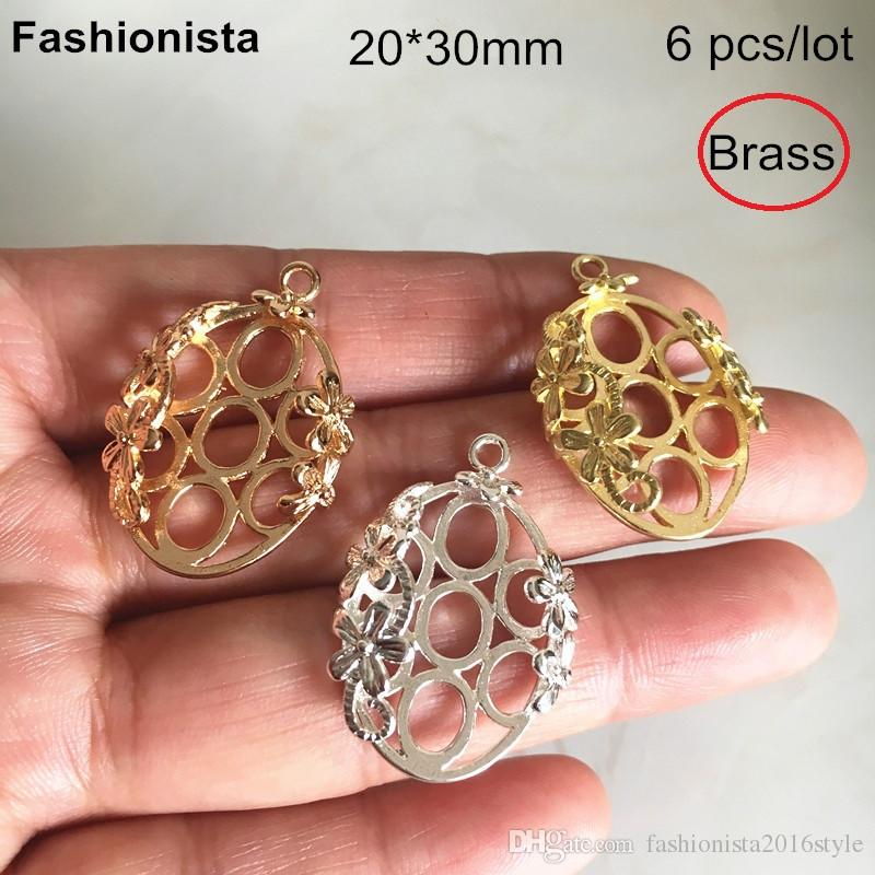 6 pcs Brass Filigree Oval Charms 20*30mm,Brass Flower Pattern Charms Pendant For Jewelry Project,Gold-color,Silver-color,Bra